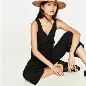 Zara Black Ribbed Ruffle Jumpsuit